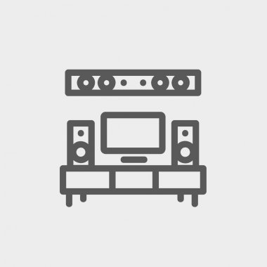 TV flat screen and home theater thin line icon
