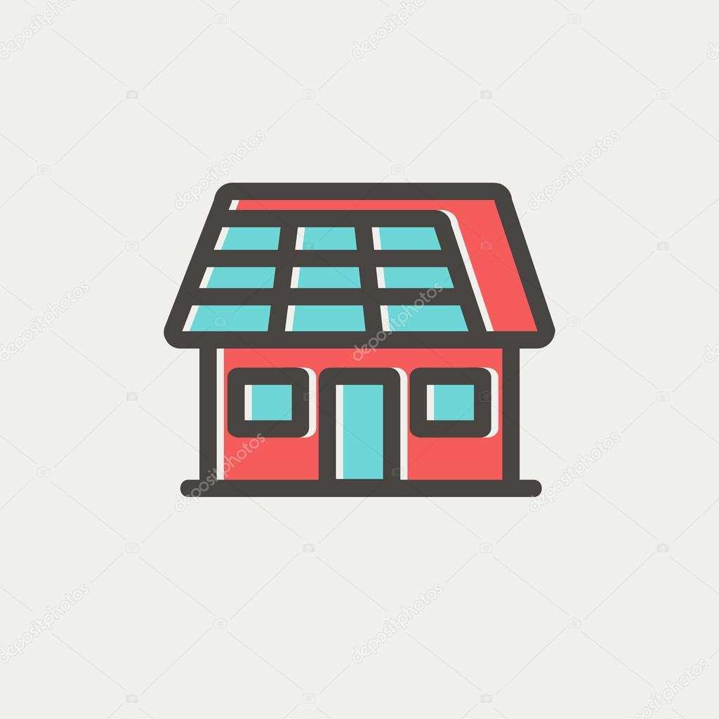 House with solar panel thin line icon