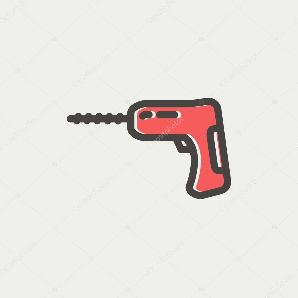 Hammer drill thin line icon