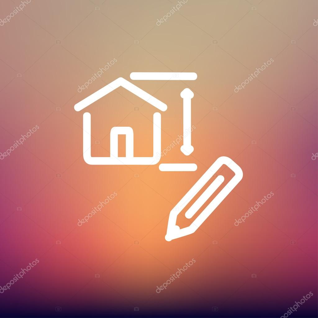 House sketch and pencil thin line icon