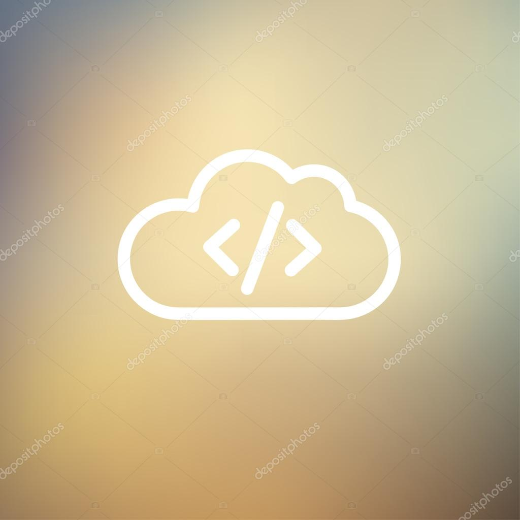 Transferring files cloud apps thin line icon