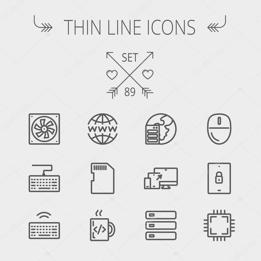Technology Thin Line Icon Set Stock Vector Rastudio 74569781 Optical Mouse Wiring Diagram Includes Simcard Computer Cooler Keyboard With Wifi Drive 3 Devices Circuit Board Modern Minimalistic