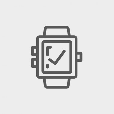 Smartwatch with check sign thin line icon