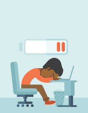 Employee fall asleep at his desk.