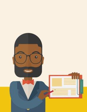 Handsome black guy holding clipboard.