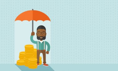 An african-american businessman standing holding umbrella protecting his money to investments, money management. Saving money for any financial crisis will come. Saving concept. A contemporary style stock vector