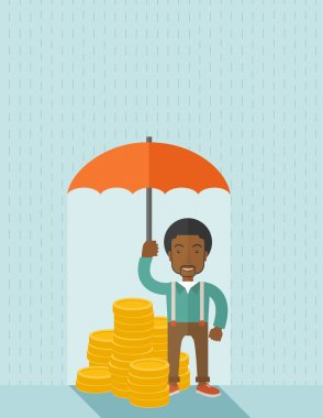 African-american businessman with umbrella as protection for his investment.