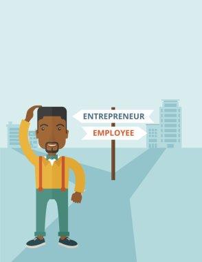 Black guy confused with enterpreneur or employee