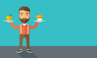 Man carries with his two hands cupcake and apple.
