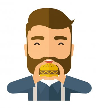 Man happy eating hamburger.