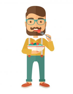 A hungry man eating meal with his fork and by carrying the bowl. Craving concept. A Contemporary style. Vector flat design illustration isolated white background. Vertical layout stock vector