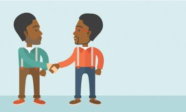 Two African-american guys happily handshaking.