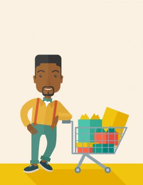 African-american Man with shopping cart