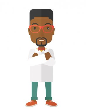 A Young handsome african male medicine doctor assistant standing in white lab coat with cross arms. A Contemporary style. Vector flat design illustration isolated white background. Vertical layout stock vector