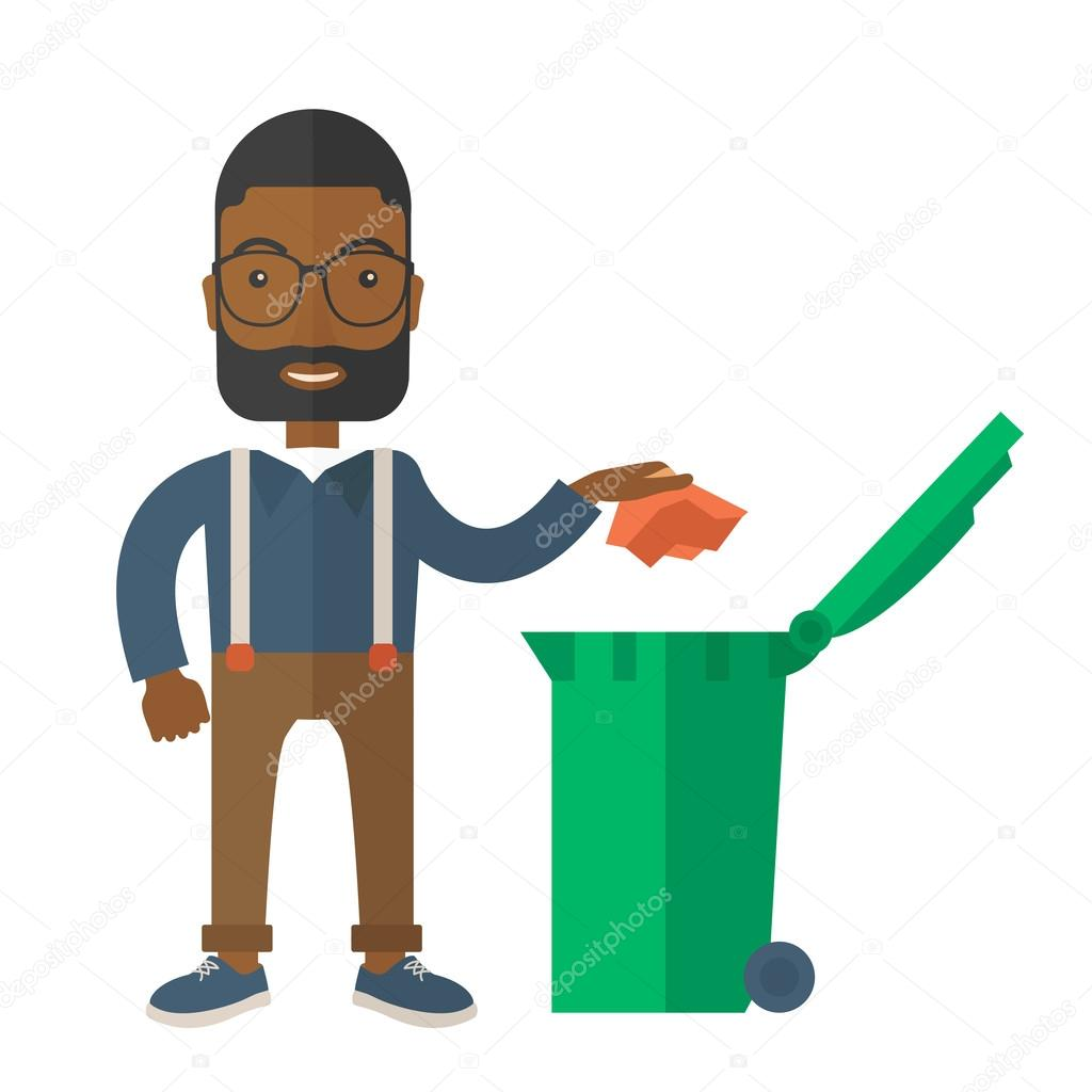 homme noir jeter le papier dans une poubelle image vectorielle rastudio 75985883. Black Bedroom Furniture Sets. Home Design Ideas