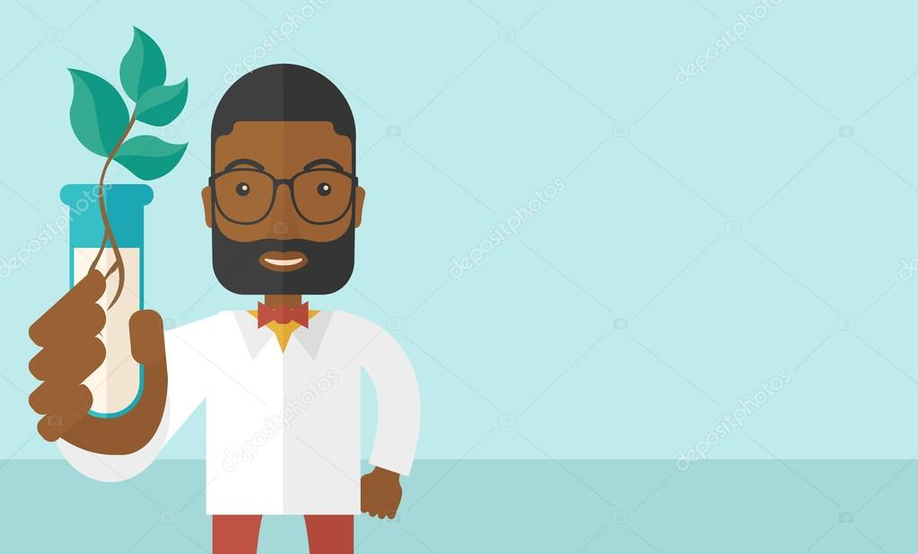 Black guy Chemist with tube and eco leaves.