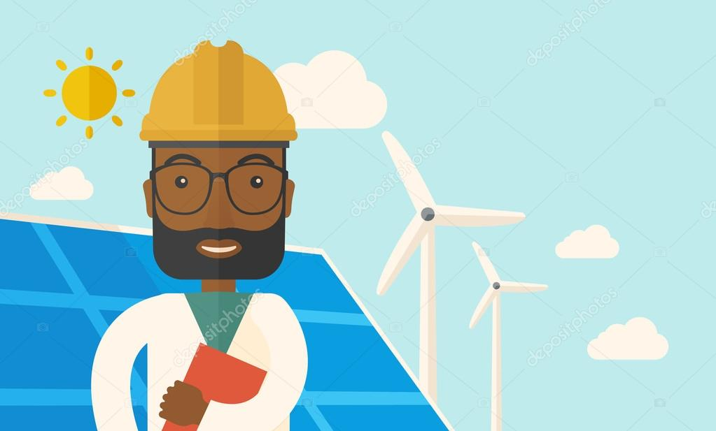 Black man in solar panel and windmills.
