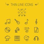 Musik und Unterhaltung dünne Linie-Icon-set