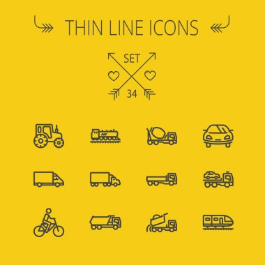 Transportation thin line icon set
