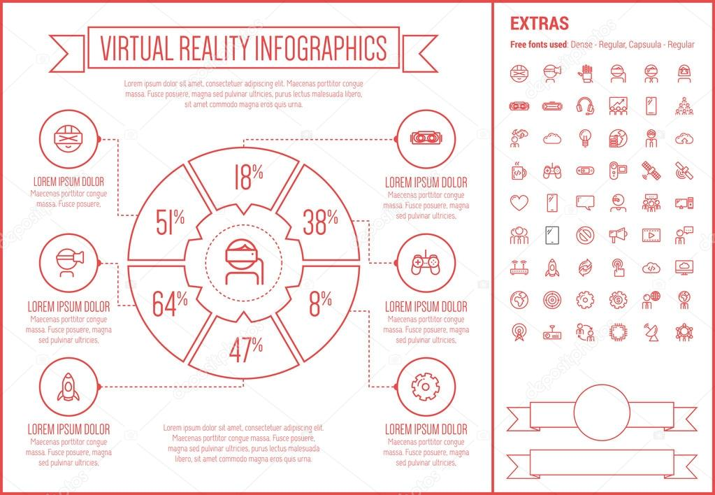 virtual reality line design infographic template ストックベクター