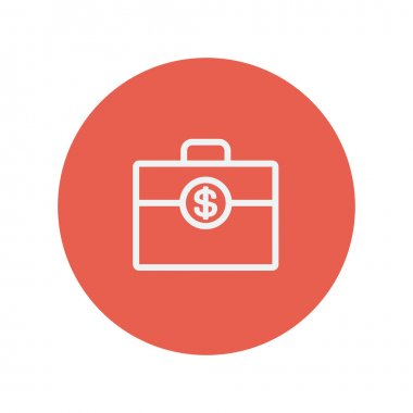 Money suitcase thin line icon
