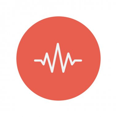 Sound wave beats thin line icon for web and mobile minimalistic flat design. Vector white icon inside the red circle stock vector