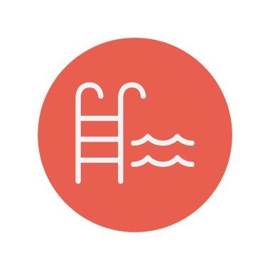 Swimming pool ladder thin line icon