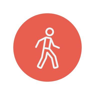 Walking exercise thin line icon