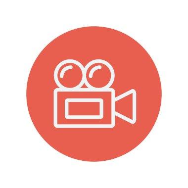 Old cinema video cam thin line icon