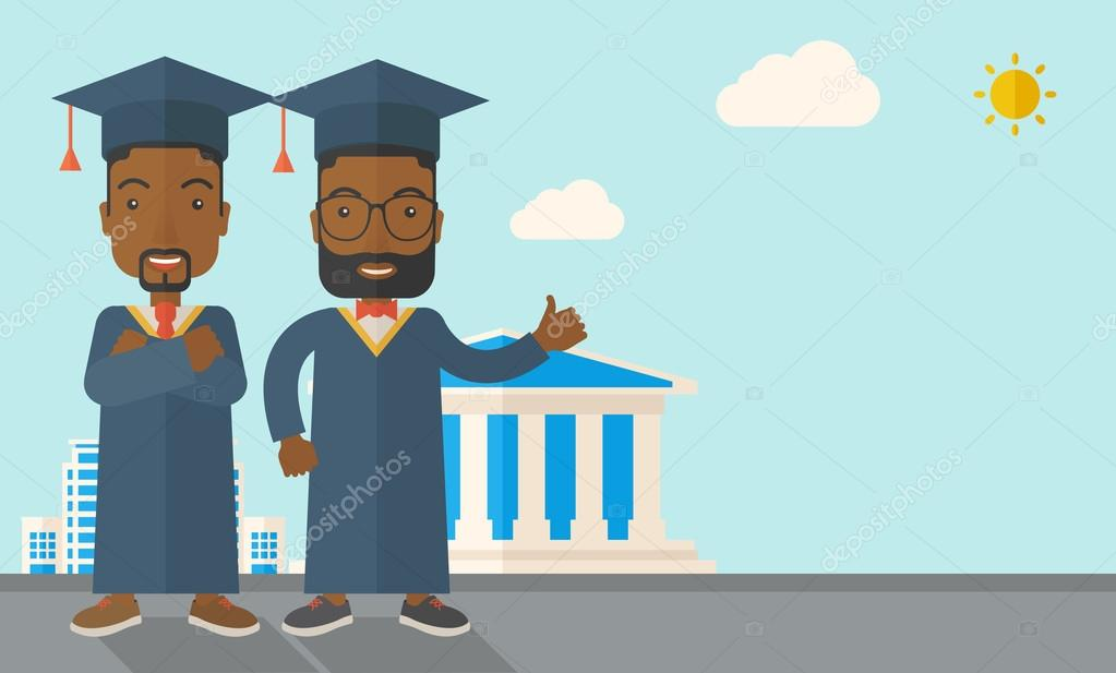 Two black men wearing graduation cap.