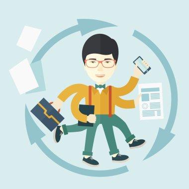 Chinese man with multitasking job