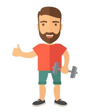 Exercising, man holding dumbells
