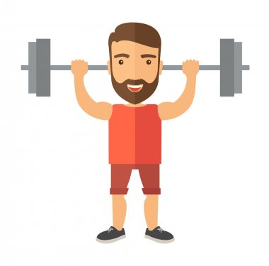 Handsome man lifting a barbell