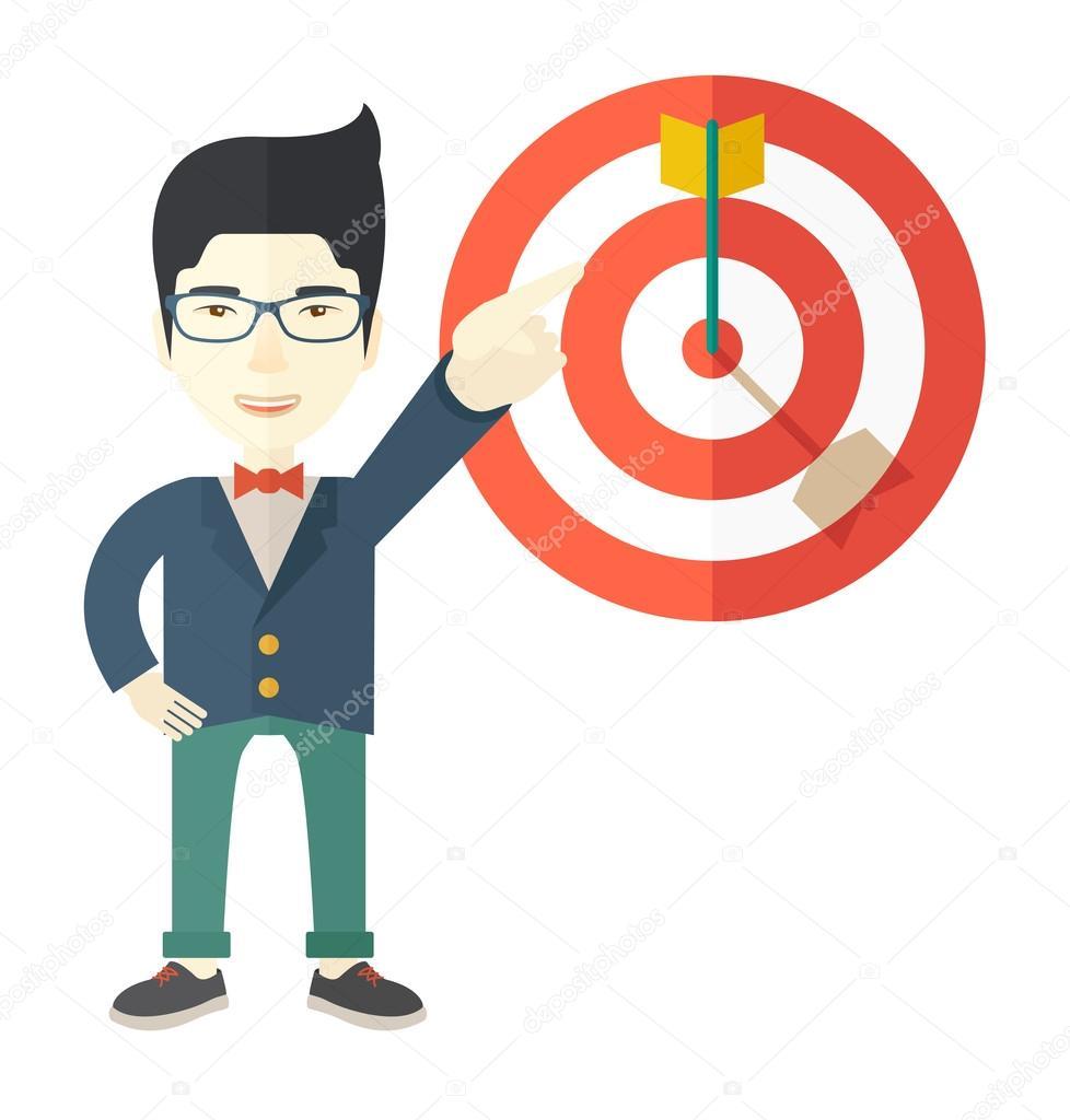 japanese salesman hit the sales target vetor de stock rastudio