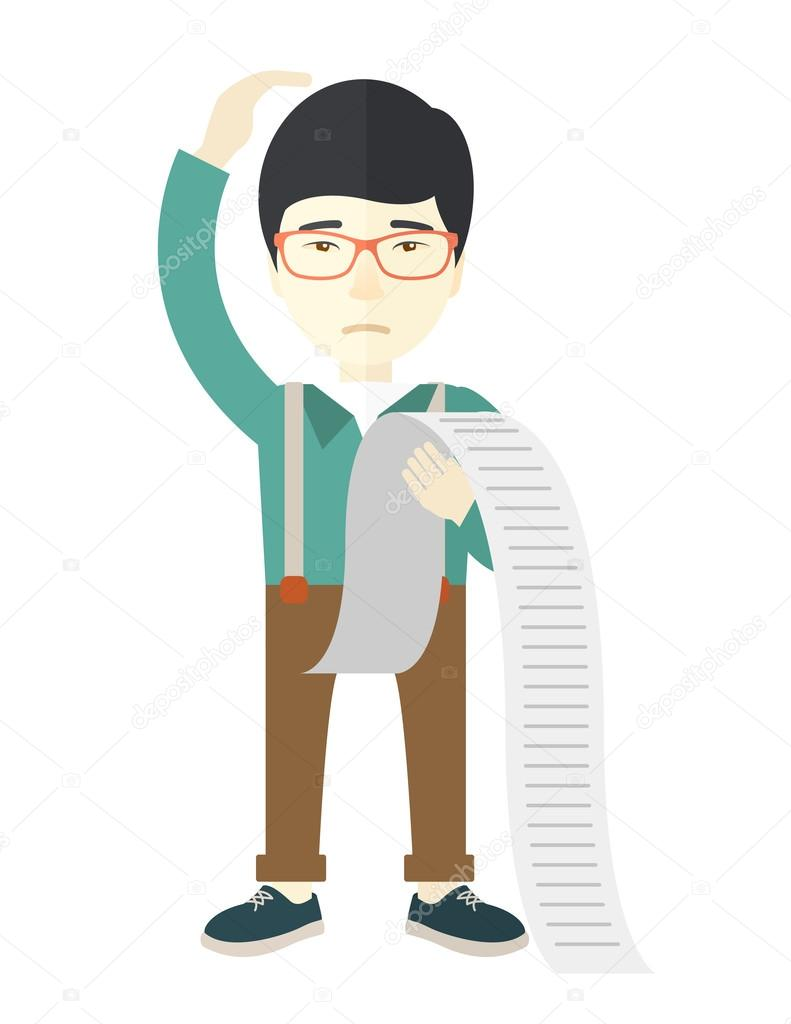 sad japanese employee holding a list of payables ストックベクター