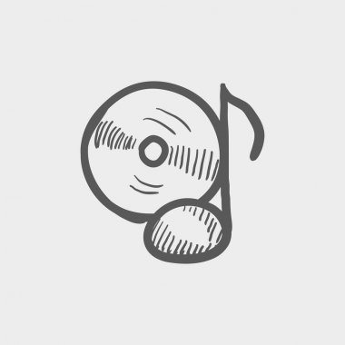 Note with phonograph record sketch icon