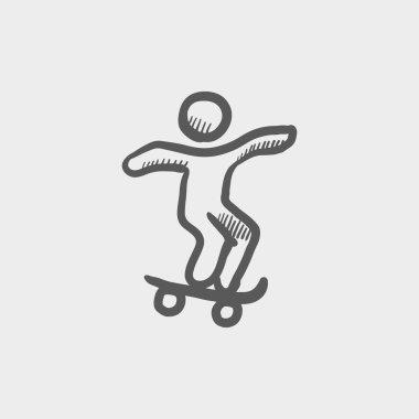 Man skateboarding sketch icon