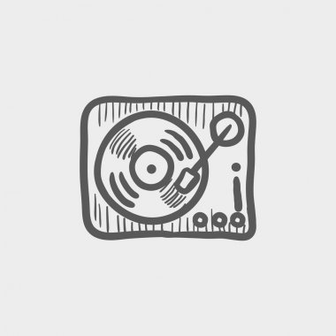 Phonograph turntable sketch icon
