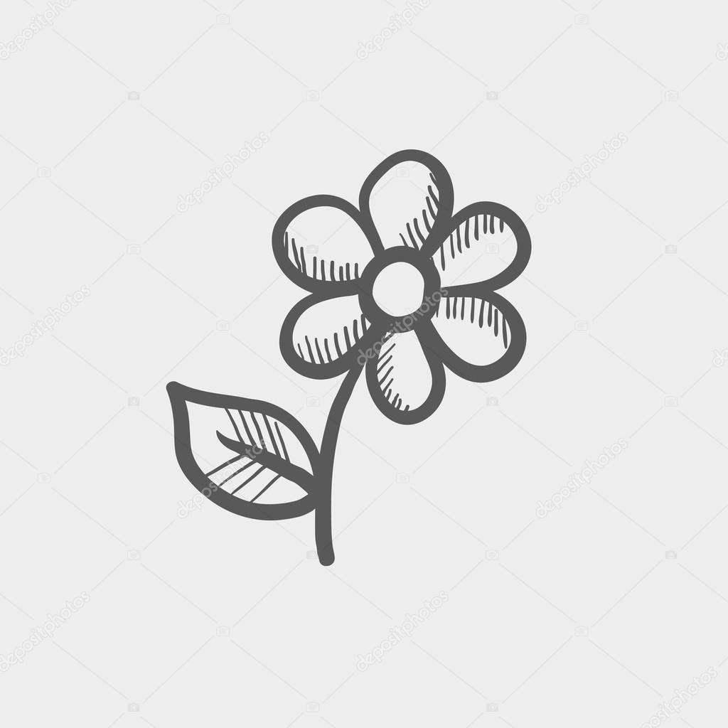 Flower sketch icon