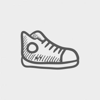 Hi-cut rubber shoes sketch icon