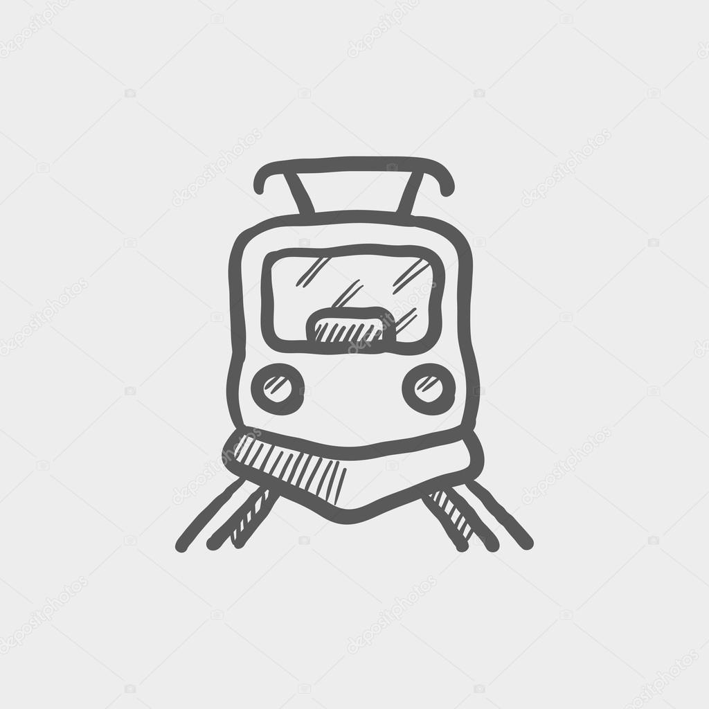 Train Front Drawing Front View Of Train Sketch Icon Stock