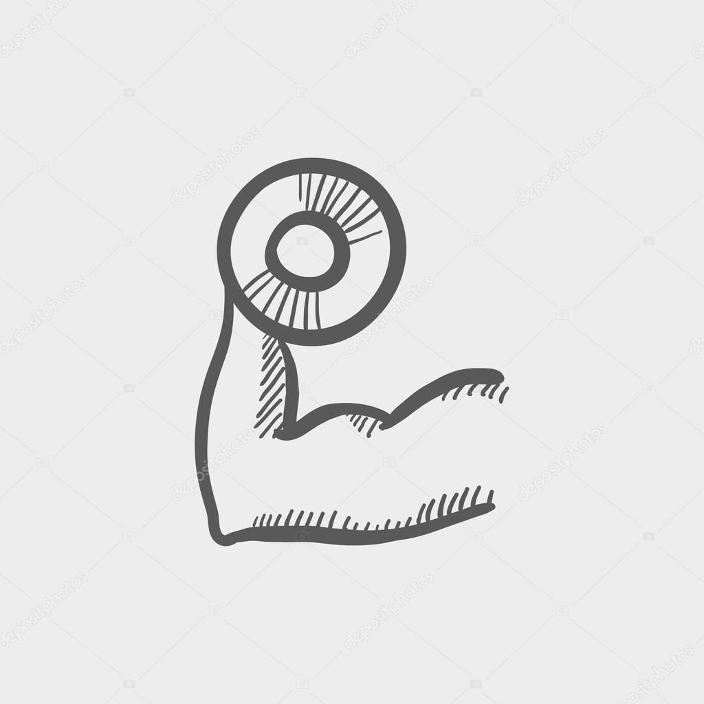 Arm-Muskeln, mit Hantel Skizze Symbol — Stockvektor © rastudio #79729840