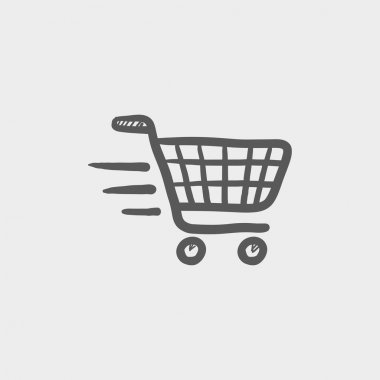 Fast delivery shopping sketch icon