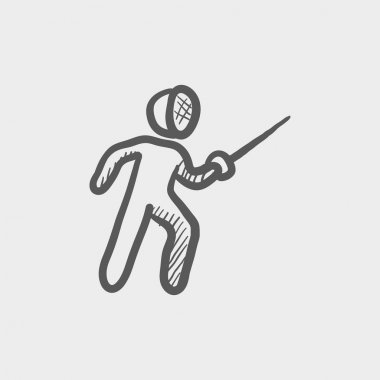 Fencing sport sketch icon