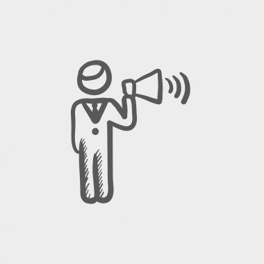 Man with megaphone sketch icon