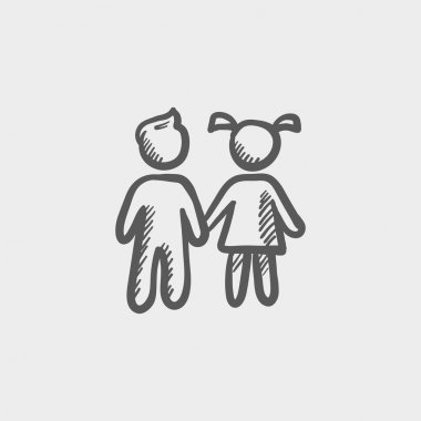 Little siblings sketch icon