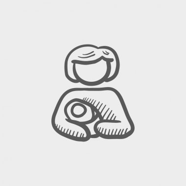 Mother carrying the baby sketch icon
