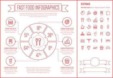 Fast Food Line Design Infographic Template