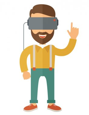 Man with isometric virtual reality headset.
