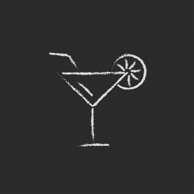 Cocktail glass icon drawn in chalk.